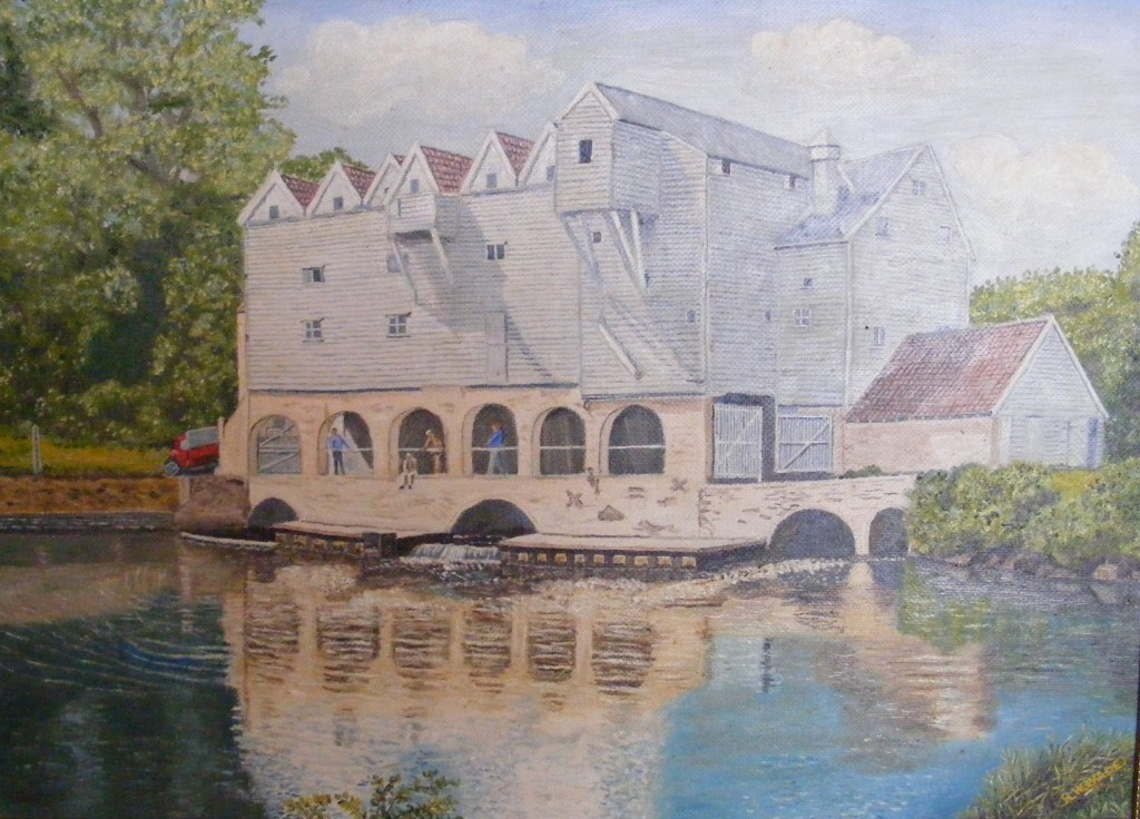 Horstead Mill painted from a postcard
