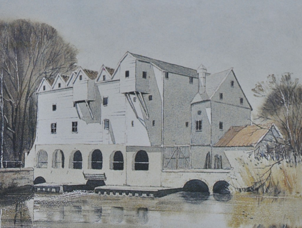 Horstead Mill, watercolour [miniature]
